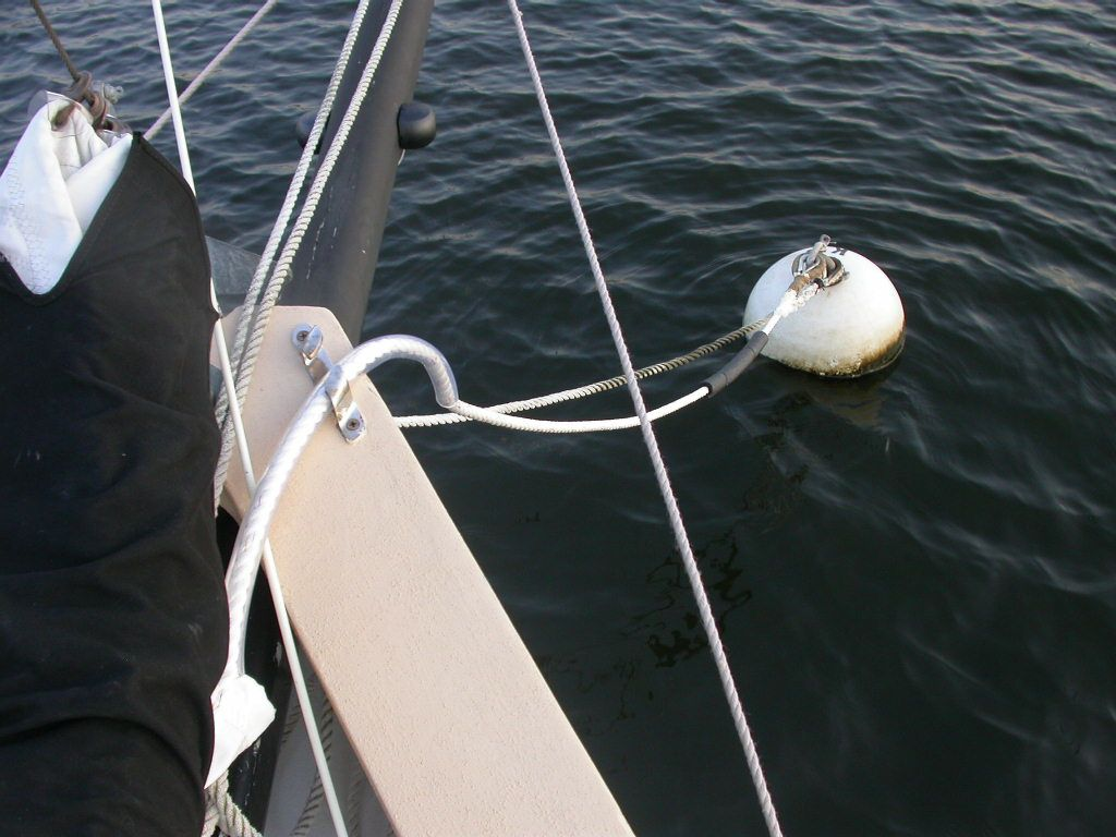 Mooring pennant line questions the slight chafing at the mooring ball and some foam floatation to the line so it doesnt sink at slack tide complete details here daemon chafe aloadofball Image collections